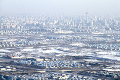 Airscape of Beijing city after snow Royalty Free Stock Image