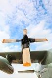 Airscrew engine of airplane Stock Photos