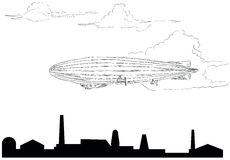 Airship. The airship flying over the plant. Vector illustration Stock Photos