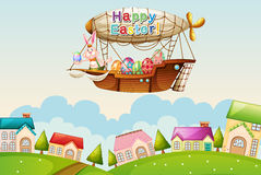 An airship above the hills with an easter greeting Royalty Free Stock Images