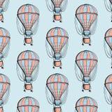 Airship balloon colorful pattern. Travel ballon with basket summer texture. Adventure tourism decoration. stock illustration