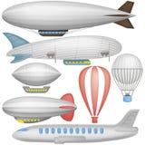 Airship, balloons and airplane Royalty Free Stock Photos