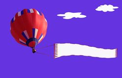 Airship and banner. Three dimensional illustration of hot air balloon with banner in blue sky with cloudscape Stock Images
