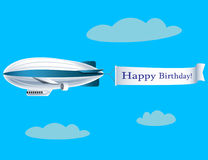 Airship with banner with text Happy Birthday. Vector illustration Royalty Free Stock Photo