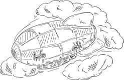 Airship at clouds Stock Images