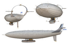 Airship. 3D render of a steampunk airship, or dirigible, against a white background Royalty Free Stock Photo