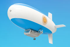 Airship or dirigible balloon with Argentina flag, 3D rendering. Airship or dirigible balloon with Argentina flag, 3D Royalty Free Stock Photo