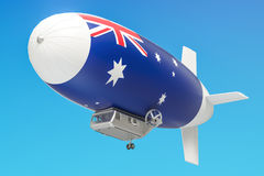 Airship or dirigible balloon with Australian flag, 3D rendering Stock Images