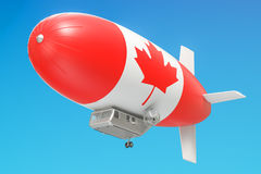 Airship or dirigible balloon with Canadian flag, 3D rendering. Airship or dirigible balloon with Canadian flag, 3D Stock Photo