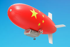 Airship or dirigible balloon with Chinese flag, 3D rendering. Airship or dirigible balloon with Chinese flag, 3D Stock Photo