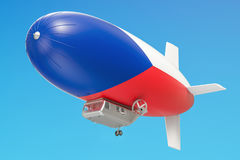 Airship or dirigible balloon with Czech Republic flag, 3D render. Airship or dirigible balloon with Czech Republic flag Stock Photo
