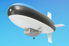 Airship or dirigible balloon with Estonian flag, 3D rendering Stock Photos