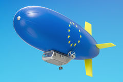 Airship or dirigible balloon with EU flag, 3D rendering Stock Image