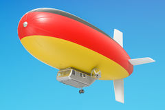 Airship or dirigible balloon with German flag, 3D rendering Stock Photo