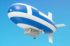 Airship or dirigible balloon with Greek flag, 3D rendering. Airship or dirigible balloon with Greek flag, 3D Stock Photography