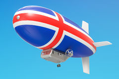 Airship or dirigible balloon with Icelandic flag, 3D rendering Stock Photos