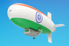 Airship or dirigible balloon with Indian flag, 3D rendering Royalty Free Stock Photography