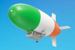 Airship or dirigible balloon with Irish flag, 3D rendering. Airship or dirigible balloon with Irish flag, 3D Royalty Free Stock Image