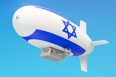 Airship or dirigible balloon with Israeli flag, 3D rendering Stock Images