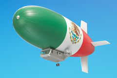 Airship or dirigible balloon with Mexican flag, 3D rendering. Airship or dirigible balloon with Mexican flag, 3D Royalty Free Stock Photos