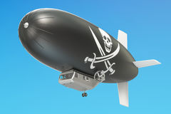 Airship or dirigible balloon with piracy flag, 3D rendering. Airship or dirigible balloon with piracy flag, 3D Stock Images