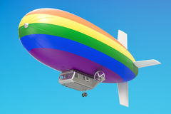 Airship or dirigible balloon with rainbow flag, 3D rendering. Airship or dirigible balloon with rainbow flag, 3D Stock Image