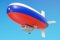 Airship or dirigible balloon with Russian flag, 3D rendering Royalty Free Stock Photography