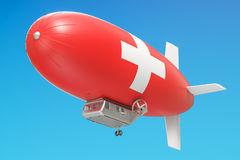 Airship or dirigible balloon with Switzerland flag, 3D rendering Stock Photography