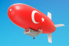 Airship or dirigible balloon with Turkish flag, 3D rendering. Airship or dirigible balloon with Turkish flag, 3D Stock Photography
