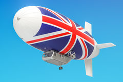 Airship or dirigible balloon with UK flag, 3D rendering Royalty Free Stock Image