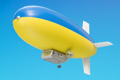 Airship or dirigible balloon with Ukrainian flag, 3D rendering. Airship or dirigible balloon with Ukrainian flag, 3D Stock Image