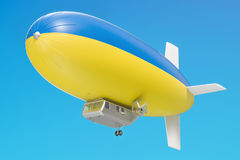 Airship or dirigible balloon with Ukrainian flag, 3D rendering Royalty Free Stock Photos