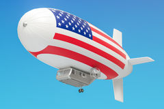 Airship or dirigible balloon with USA flag, 3D rendering Royalty Free Stock Photos