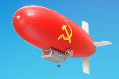 Airship or dirigible balloon with USSR flag, 3D rendering. Airship or dirigible balloon with USSR flag, 3D Royalty Free Stock Image