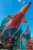 Airship in Disneyland. Big airship in amusement park Stock Photo