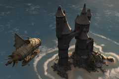 Airship and fantasy island castle. Fantasy airship approaches fairytale castle on island where cloaked figure waits Stock Photos