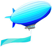 Airship with flag banner, vector illustration. Isolated on while Stock Image