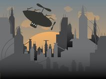 Airship flies away from a futuristic urban city Royalty Free Stock Images
