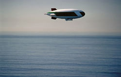 Airship. Flying over Pacific Ocean in California Royalty Free Stock Photo