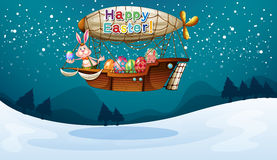 An airship with a happy easter greeting Royalty Free Stock Images