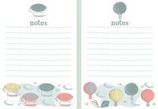 Airship and hot air note paper writing paper Stock Images