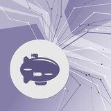 Airship Icon on purple abstract modern background. The lines in all directions. With room for your advertising. Illustration Stock Photos