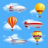 Airship Icon Set Stock Photos