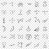 Airship icons set, outline style. Airship icons set. Outline style of 36 airship vector icons for web for any design stock illustration