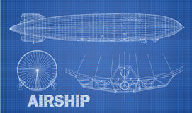 Airship illustration in blue print style. Royalty Free Stock Photos