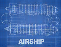 Airship illustration in blue print style. Stock Photos