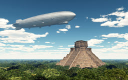 Airship and Mayan temple Royalty Free Stock Image