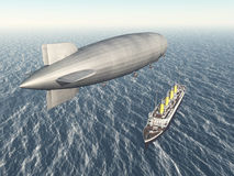 Airship and ocean liner Stock Images