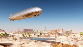 Airship over a desert landscape Stock Photography