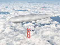 Airship over the Golden Gate Bridge Stock Image